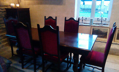 Heavily Carved Extending Dining Table and 6 Chairs - Gothic - Collection NG23