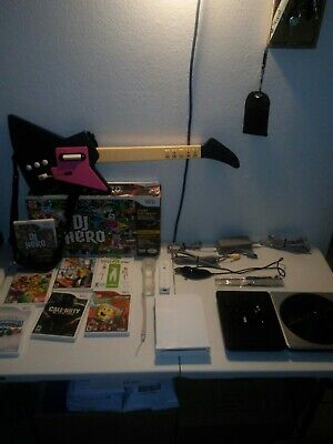 Nintendo Wii white console bundle with dj hero 1 controllers model # RVL-001