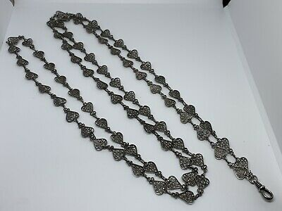 """Antique Victorian Filigree Heart Watch Necklace Chain Fob 58"""" Long Womens"""