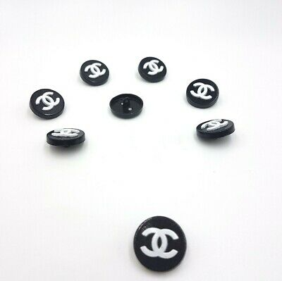Chanel Style Black &White Metal Buttons CraftsGift set of 8 pieces 20mm.
