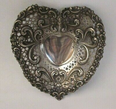 Antique Gorham Sterling Silver Heart Bowl.Chantilly.Pierced,Reticulated  #966 NR