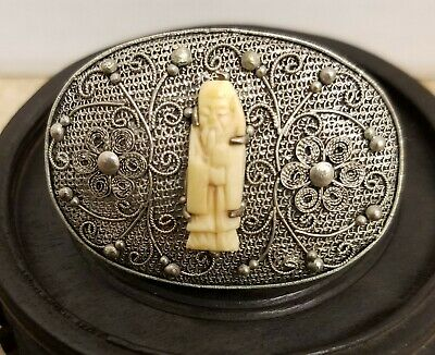 Antique Chinese Export Silver Filigree Carved Image Of A Man With Staff Brooch