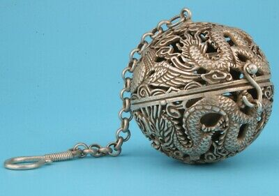 Chinese Tibet Silver Pendant Incense Ball Hollow Dragon And Phoenix Mascot