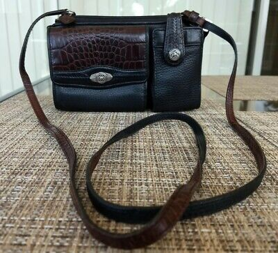 Brighton Liza small black pebbled leather brown croc crossbody organizer bag EUC