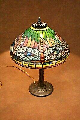 Vintage Reproduction Elegant Tiffany Style Dragonfly Stained Glass Table Lamp
