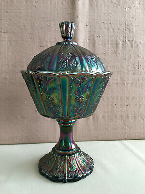 Fenton Iridescent Glass Paneled Daisy Covered Compote Candy Dish 9""
