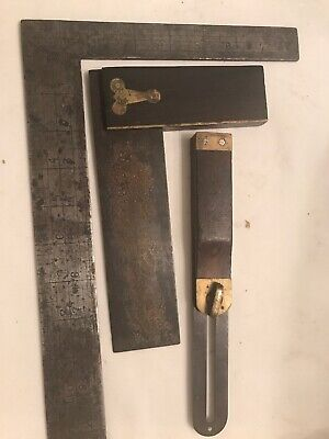 ANTIQUE Stanley Tools • Woodworking Square • Vintage Carpentry Measuring Tools ☆