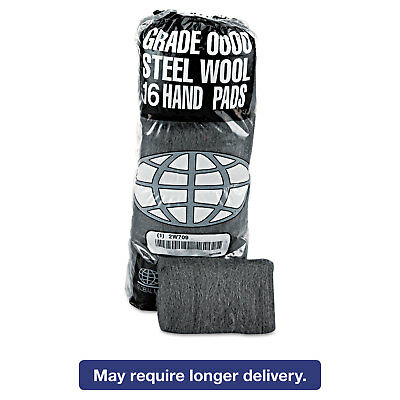 GMT Industrial-Quality Steel Wool Hand Pad #0 Fine 16/PK 12 PK/CT 117003