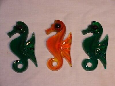 Set of 3 Vintage Lucite Acrylic Seahorses Great Condition!