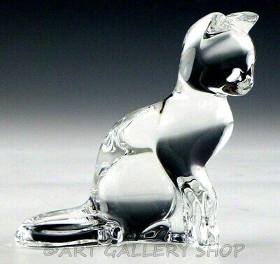 Baccarat France Clear Crystal Figurine Paperweight #756595 SITTING CAT KITTEN