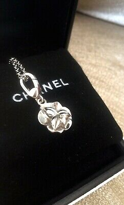 Authentic Chanel Camellia White Gold 18k Pendant Charm Necklace Chain Bag Box