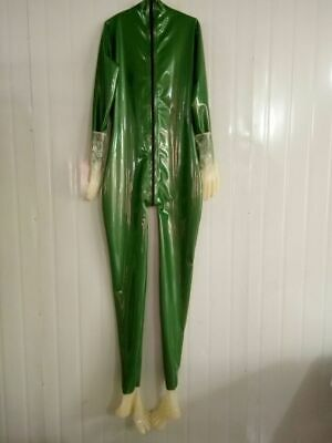 Latex Gummi Rubber Catsuit Suit Metal green  Ganzanzug Catsuit Kostüm Size S-XXL