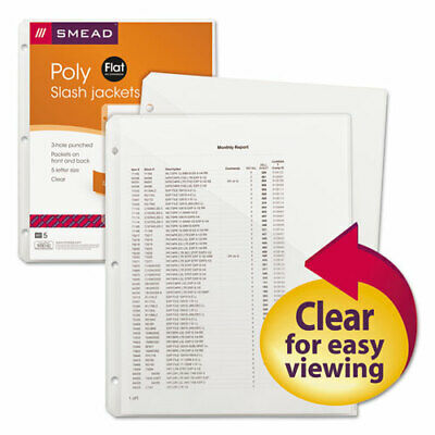 "Smead Poly Translucent Slash Jackets - 9.25"" x 11.25"" Sheet - 3 x Holes - Ring"
