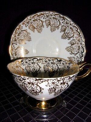 Royal Standard Bone China Tea Cup & Consort Saucer Marriage~Gold Grapes~England