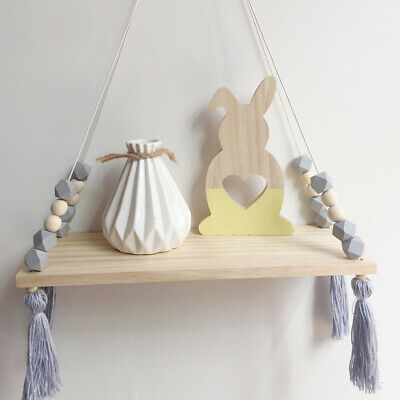 Wooden Bead Storage Board Fringed Wall Hanging Shelf Nordic Style Octagonal