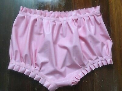 Latex Rubber Gummi Rosa Hose Sexy Ruffle Zipper Short Pants 0.4mm Fixed XL