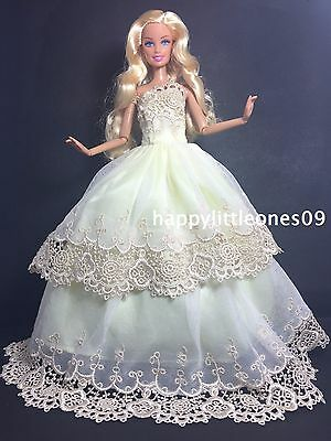 Embroidered Barbie Doll Wedding Party Evening Dress/Clothes/Outfit Brand New
