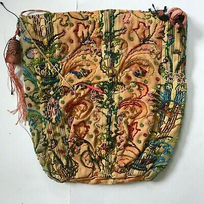 Beautiful French Antique Bead Beaded Purse Bag Sewing Handwork Large Drawstring