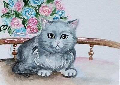 ACEO Original painting Gray cat. Bouquet of roses Watercolor Art Miniature