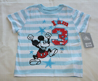 Disney Store Mickey Mouse Boys Blue Printed Short Sleeve T Shirt USA Size 3 New