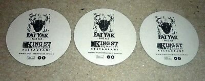 Collectable beer coasters - 3 '' King St Brewhouse/ Fat Yak Ale '' beer coasters