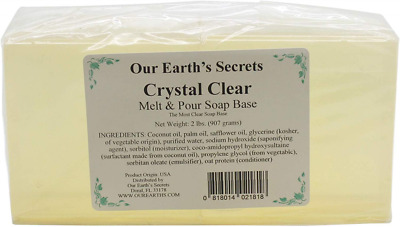 Our Earth's Secrets - 2 Lbs Melt and Pour Soap Base - Crystal Clear