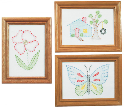 Jack Dempsey 488387 Stamped Embroidery Kit Beginner Samplers, 6 by 8-Inch 3-Pack