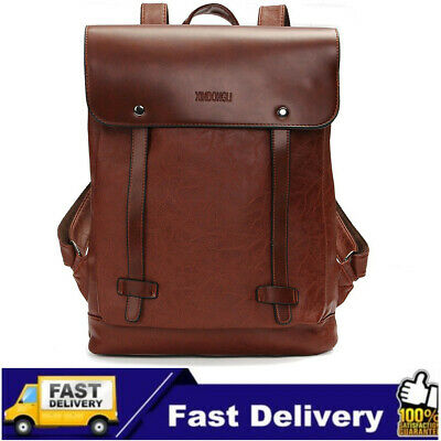 AU Men Women Large PU Leather Backpack Shoulder Bag School Travel Rucksack Tote