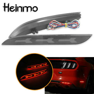 Smoked Lens Rear Bumper Reflector Tail Brake LED Lamp For 2015-2017 Ford Mustang
