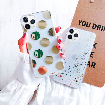For iPhone 11 Pro Max XS XR X 8 7+ Plating Clear Glitter Pattern Soft Case Cover