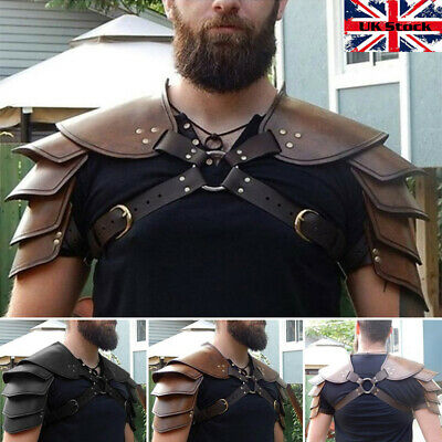 Medieval Viking Faux Leather Double Shoulder Armor For Larp Theatre Cosplay UK