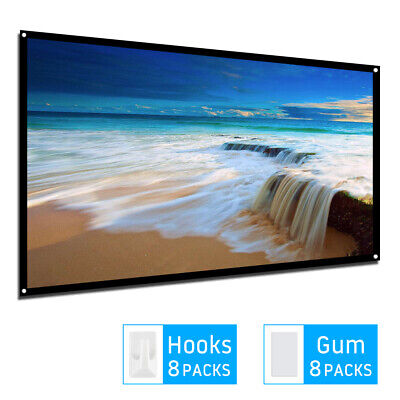 Portable Projector Screen 150 in Home Outdoor Camping 3D HD 16:9 Cinema Theater