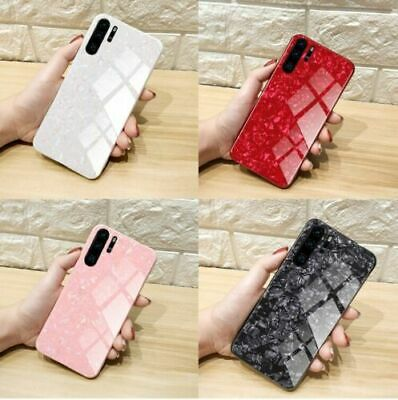 For OPPO Samsung Huawei Redmi Luxury Marble Tempered Glass Hard Phone Case Cover