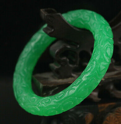 Old Chinese natural green jade hand-carved flower bangle