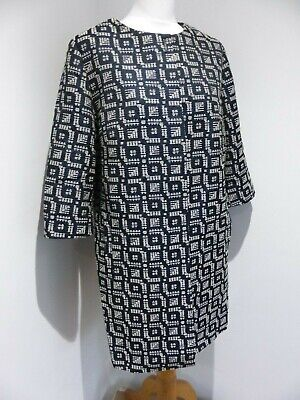 Marks & Spencer Autograph navy white textured A line smart coat 16 VGC event wed