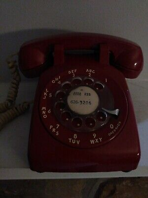 Vintage Bell System Red Rotary Dial Desk Telephone