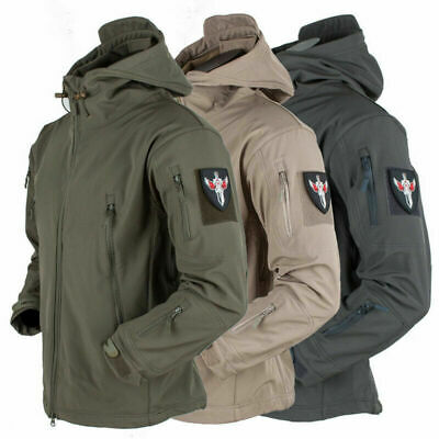 UK Men Outdoor Waterproof Soft Shell Jacket Tactical Winter Coat Military Jacket