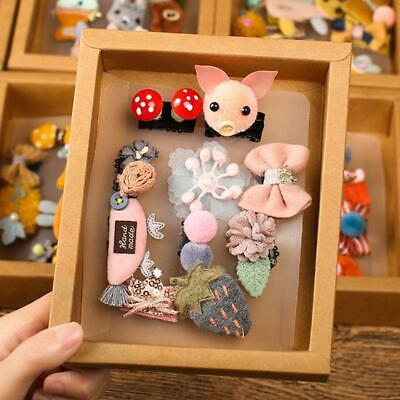 10Pcs/Set Baby Cute Cartoon Hairpins Set Bowknot Barrette Child with Gift Box W