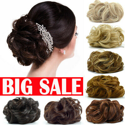 UK Ombre LARGE Curly Messy Bun Hair Piece Scrunchie Thick Hair Updo Extension