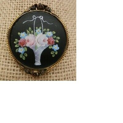 Sweet Antique Hand Painted Flower Basket Brooch