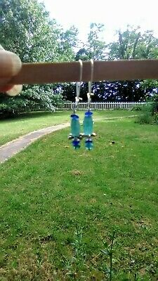 Ancient Roman Glass Bead Earrings 925 Silver Handmade