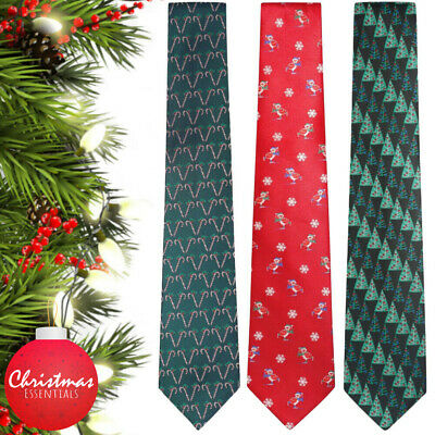 Men's Christmas Tie Fancy Dress Novelty Xmas Office Party Secret Santa Gift Fun