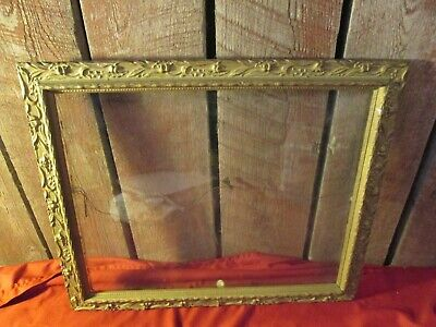 Antique Gesso Aesthetic Art Deco Victorian Wood Ornate Picture Frame gold glass