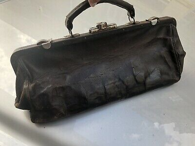 Antique Vintage Large Brown Leather Doctor's Bag Or Travel Satchel Early 1900'S