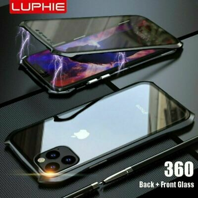 For iPhone 11 Pro Max Batman Style Magnetic Adsorption Two Side Glass Case Cover