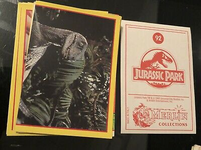 48 x 1992 Jurassic Park Sticker Trading Cards Merlin Collections Universal Rare