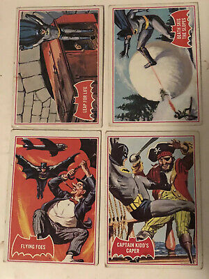 4 x 1966 Batman Trading Cards Red Series A #19, 22, 31, 32 Vintage Old Rare Lot