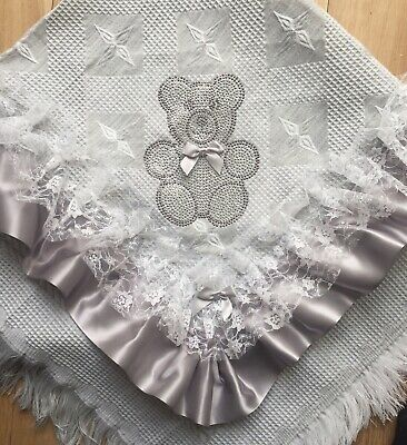 Romany Baby Grey Shawl - White  Lace With Bling Teddy Unisex - Gorgeous!!!