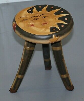 Lovely Childrens Sun And Moon Hand Painted Stool Very Decorative Well Made