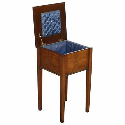 Antique Victorian Scottish Carved Mahogany Sewing Box Blue Silk Chesterfield